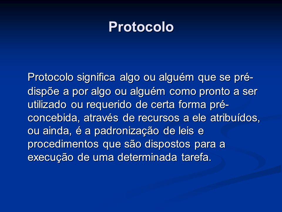 Protocolo Protocolo significa algo ou alguém que se pré- dispõe a por algo ou alguém como pronto a ser utilizado ou requerido de certa forma pré- conc