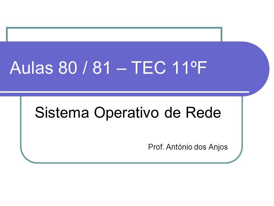 Aulas 80 / 81 – TEC 11ºF Sistema Operativo de Rede Prof. António dos Anjos