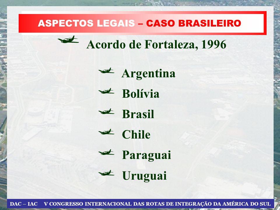 DAC – IAC V CONGRESSO INTERNACIONAL DAS ROTAS DE INTEGRAÇÃO DA AMÉRICA DO SUL ASPECTOS LEGAIS – CASO BRASILEIRO Acordo de Fortaleza, 1996 Argentina Bo