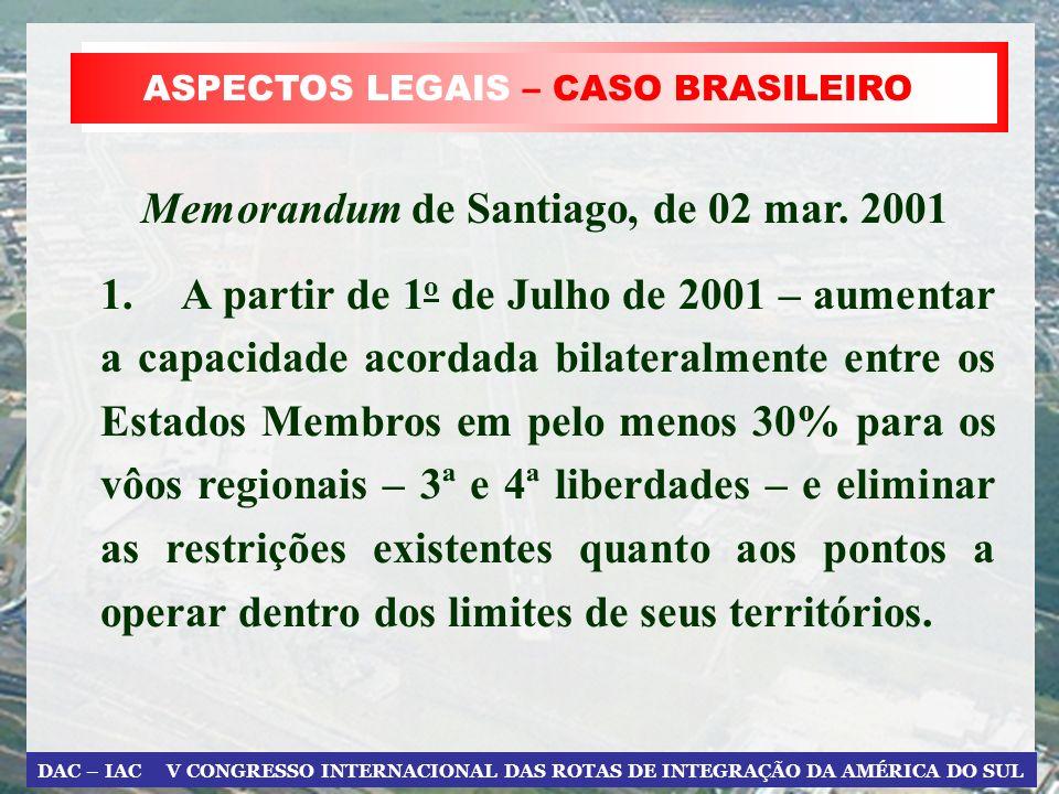DAC – IAC V CONGRESSO INTERNACIONAL DAS ROTAS DE INTEGRAÇÃO DA AMÉRICA DO SUL ASPECTOS LEGAIS – CASO BRASILEIRO 1. A partir de 1 o de Julho de 2001 –
