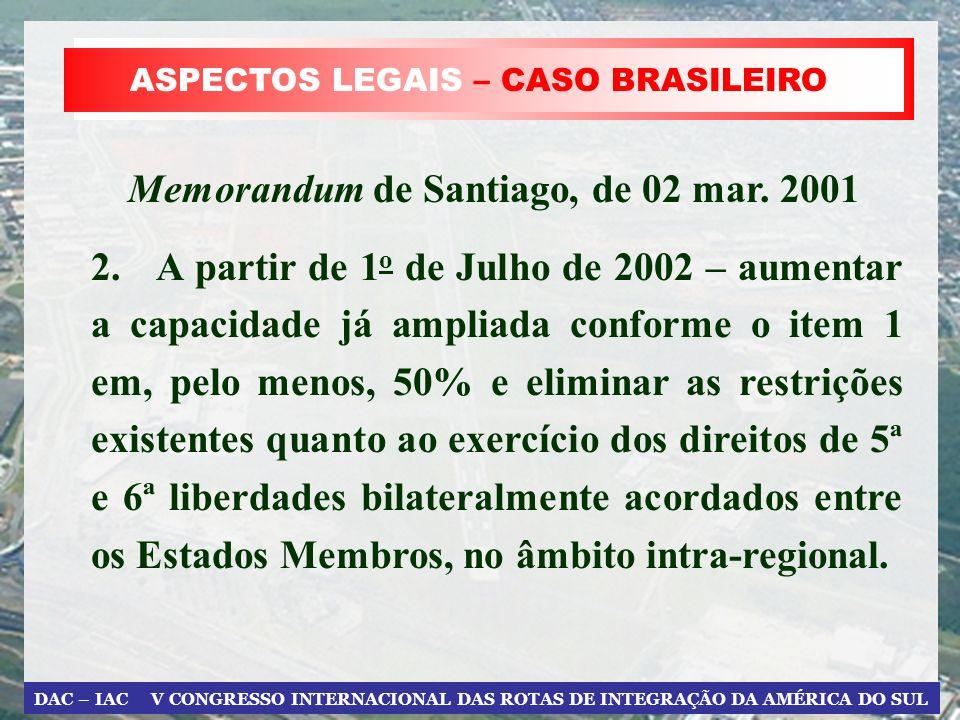 DAC – IAC V CONGRESSO INTERNACIONAL DAS ROTAS DE INTEGRAÇÃO DA AMÉRICA DO SUL ASPECTOS LEGAIS – CASO BRASILEIRO 2. A partir de 1 o de Julho de 2002 –