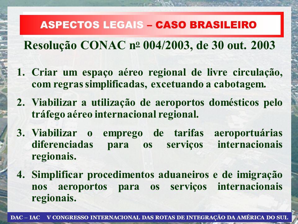 DAC – IAC V CONGRESSO INTERNACIONAL DAS ROTAS DE INTEGRAÇÃO DA AMÉRICA DO SUL ASPECTOS LEGAIS – CASO BRASILEIRO Resolução CONAC n o 004/2003, de 30 ou