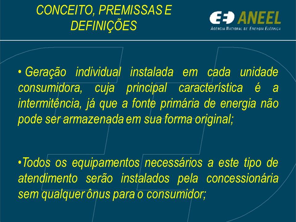 Geração individual instalada em cada unidade consumidora, cuja principal característica é a intermitência, já que a fonte primária de energia não pode