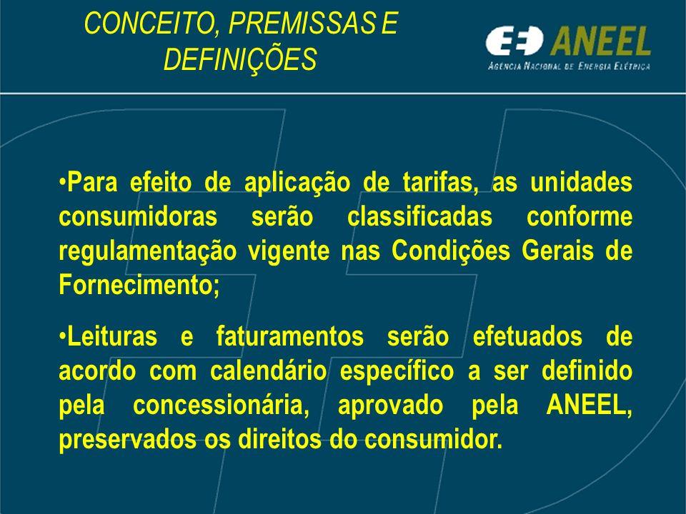 Para efeito de aplicação de tarifas, as unidades consumidoras serão classificadas conforme regulamentação vigente nas Condições Gerais de Fornecimento