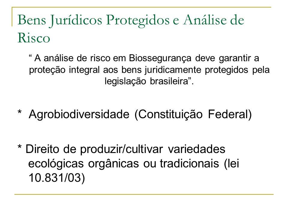 Bens Jurídicos Protegidos e Análise de Risco A análise de risco em Biossegurança deve garantir a proteção integral aos bens juridicamente protegidos pela legislação brasileira.