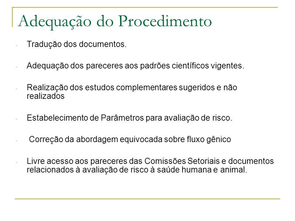 Adequação do Procedimento - Tradução dos documentos.
