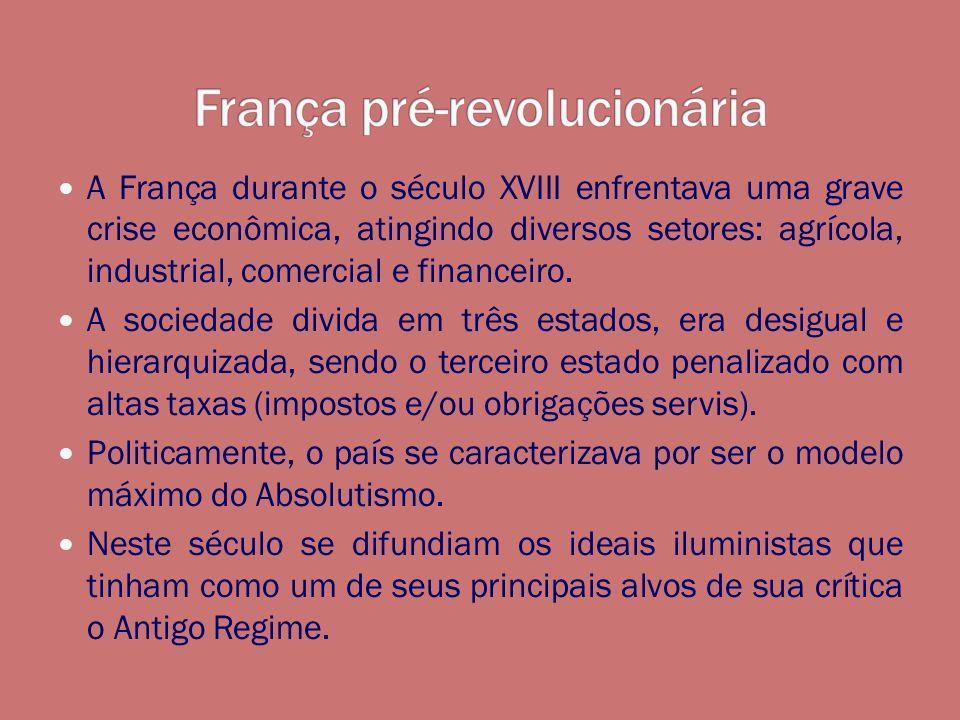 A França durante o século XVIII enfrentava uma grave crise econômica, atingindo diversos setores: agrícola, industrial, comercial e financeiro. A soci