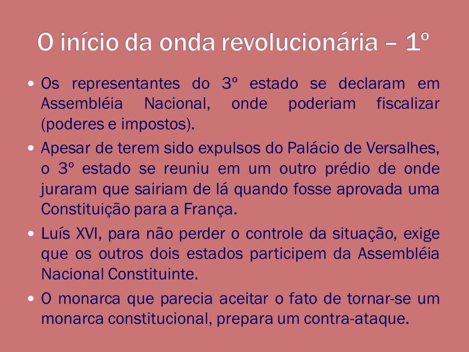 Os representantes do 3º estado se declaram em Assembléia Nacional, onde poderiam fiscalizar (poderes e impostos). Apesar de terem sido expulsos do Pal