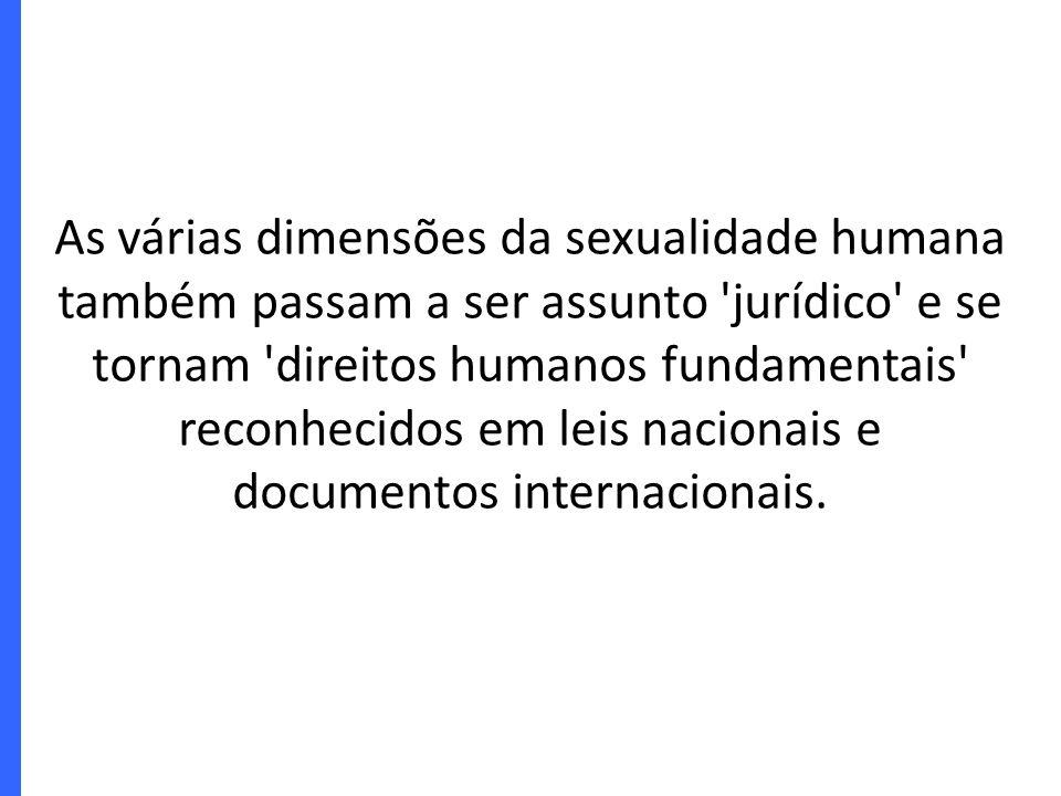 As várias dimensões da sexualidade humana também passam a ser assunto 'jurídico' e se tornam 'direitos humanos fundamentais' reconhecidos em leis naci