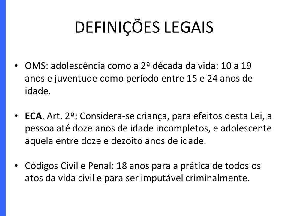 DEFINIÇÕES LEGAIS OMS: adolescência como a 2ª década da vida: 10 a 19 anos e juventude como período entre 15 e 24 anos de idade. ECA. Art. 2º: Conside