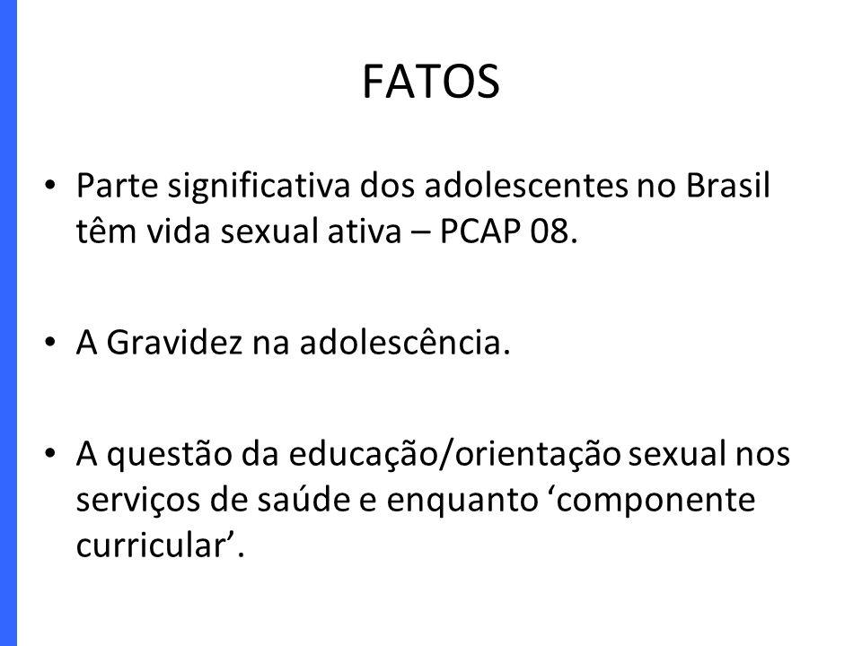 Parte significativa dos adolescentes no Brasil têm vida sexual ativa – PCAP 08. A Gravidez na adolescência. A questão da educação/orientação sexual no