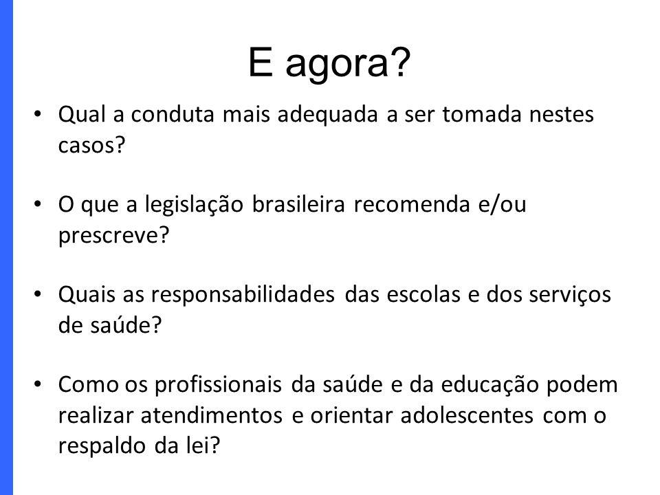 Qual a conduta mais adequada a ser tomada nestes casos? O que a legislação brasileira recomenda e/ou prescreve? Quais as responsabilidades das escolas