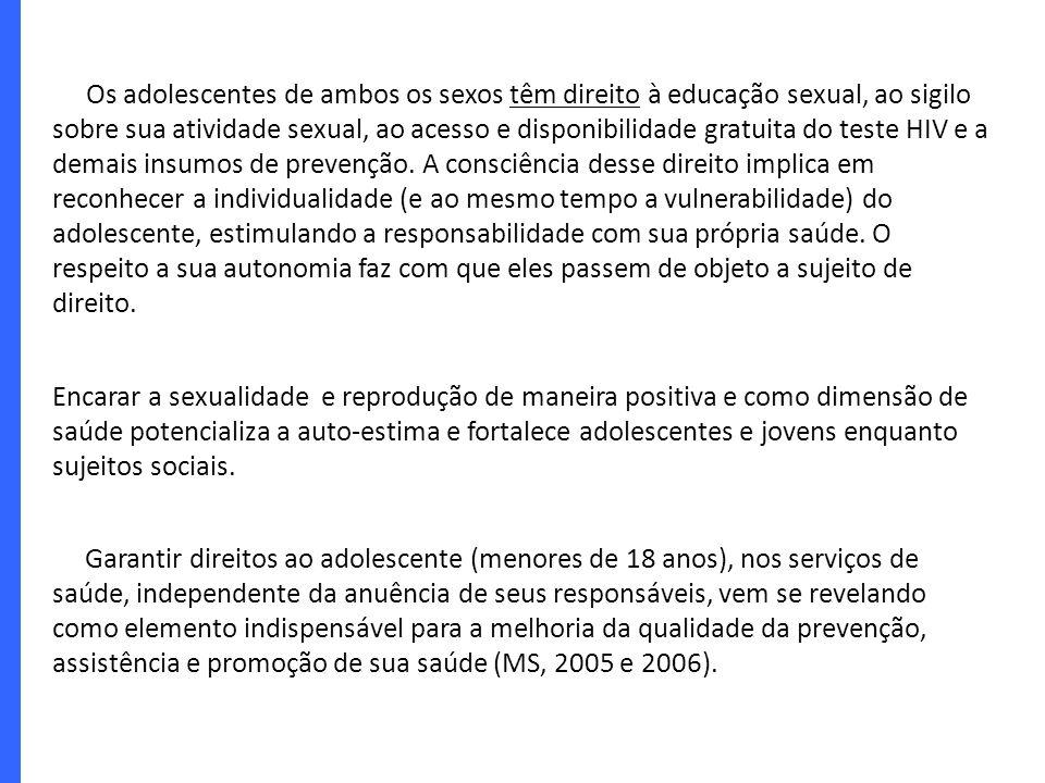 Os adolescentes de ambos os sexos têm direito à educação sexual, ao sigilo sobre sua atividade sexual, ao acesso e disponibilidade gratuita do teste H