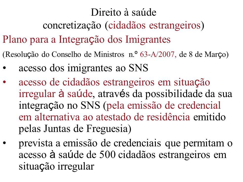 Direito à saúde concretização (cidadãos estrangeiros) Plano para a Integra ç ão dos Imigrantes (Resolu ç ão do Conselho de Ministros n. º 63-A/2007, d
