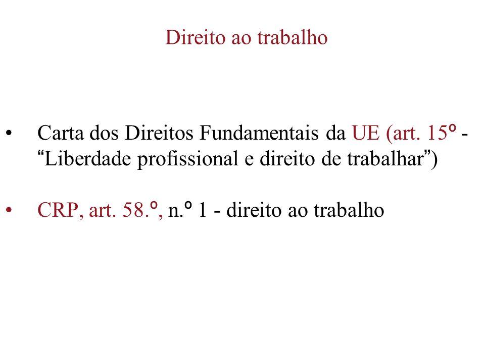 Direito ao trabalho Carta dos Direitos Fundamentais da UE (art. 15 º - Liberdade profissional e direito de trabalhar ) CRP, art. 58. º, n. º 1 - direi