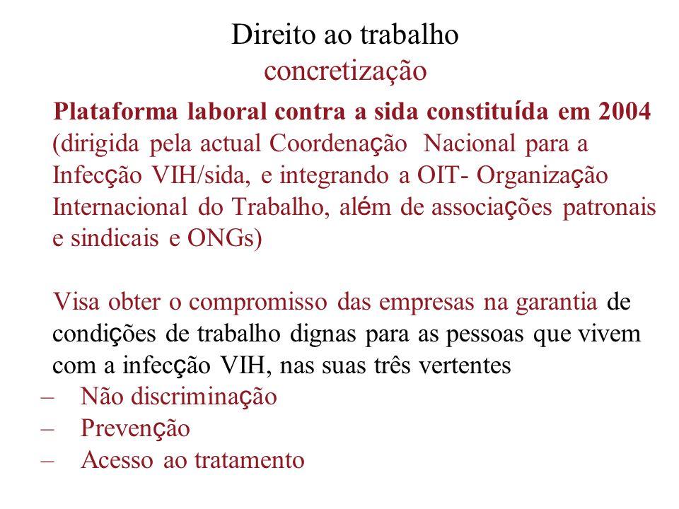 Direito ao trabalho concretização Plataforma laboral contra a sida constitu í da em 2004 (dirigida pela actual Coordena ç ão Nacional para a Infec ç ã