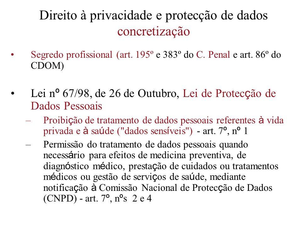 Direito à privacidade e protecção de dados concretização Segredo profissional (art. 195º e 383º do C. Penal e art. 86º do CDOM) Lei n º 67/98, de 26 d
