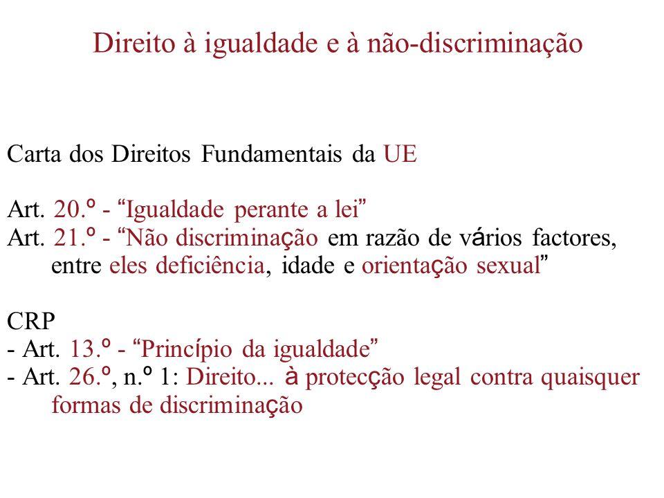 Direito à igualdade e à não-discriminação Carta dos Direitos Fundamentais da UE Art. 20. º - Igualdade perante a lei Art. 21. º - Não discrimina ç ão