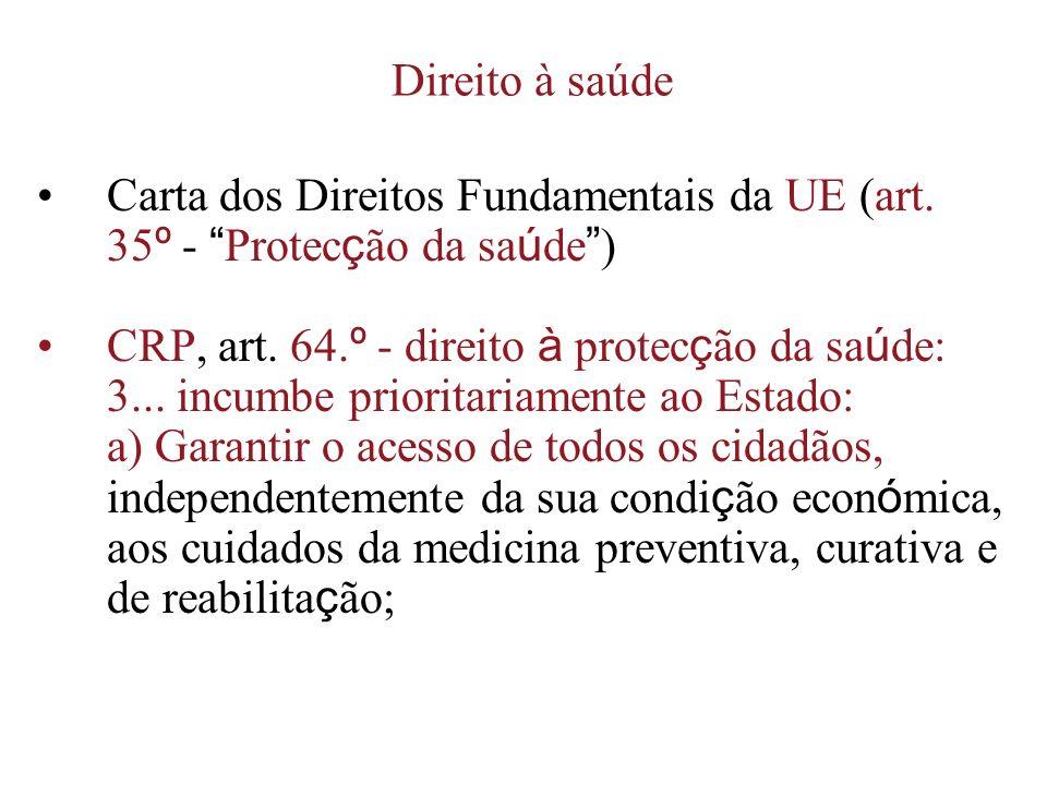 Direito à saúde Carta dos Direitos Fundamentais da UE (art. 35 º - Protec ç ão da sa ú de ) CRP, art. 64. º - direito à protec ç ão da sa ú de: 3... i