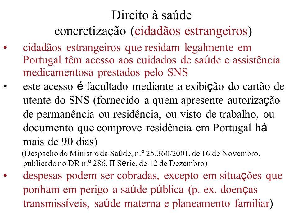 Direito à saúde concretização (cidadãos estrangeiros) cidadãos estrangeiros que residam legalmente em Portugal têm acesso aos cuidados de sa ú de e as