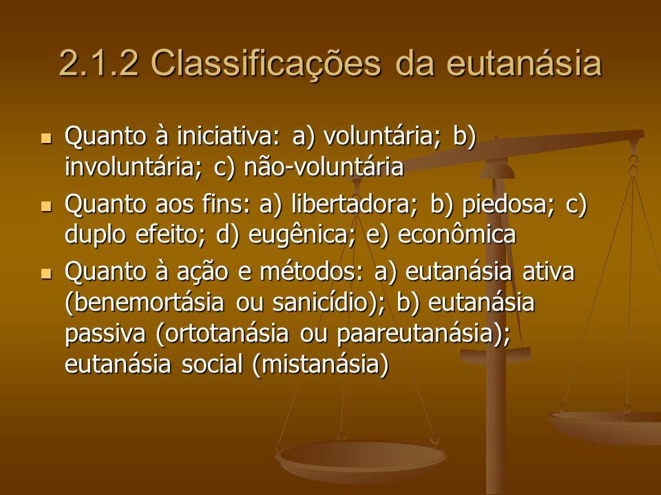 2.1.2 Classificações da eutanásia Quanto à iniciativa: a) voluntária; b) involuntária; c) não-voluntária Quanto à iniciativa: a) voluntária; b) involu