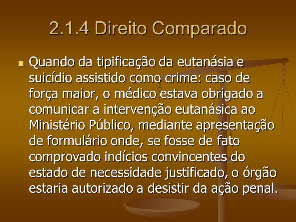 2.1.4 Direito Comparado Quando da tipificação da eutanásia e suicídio assistido como crime: caso de força maior, o médico estava obrigado a comunicar