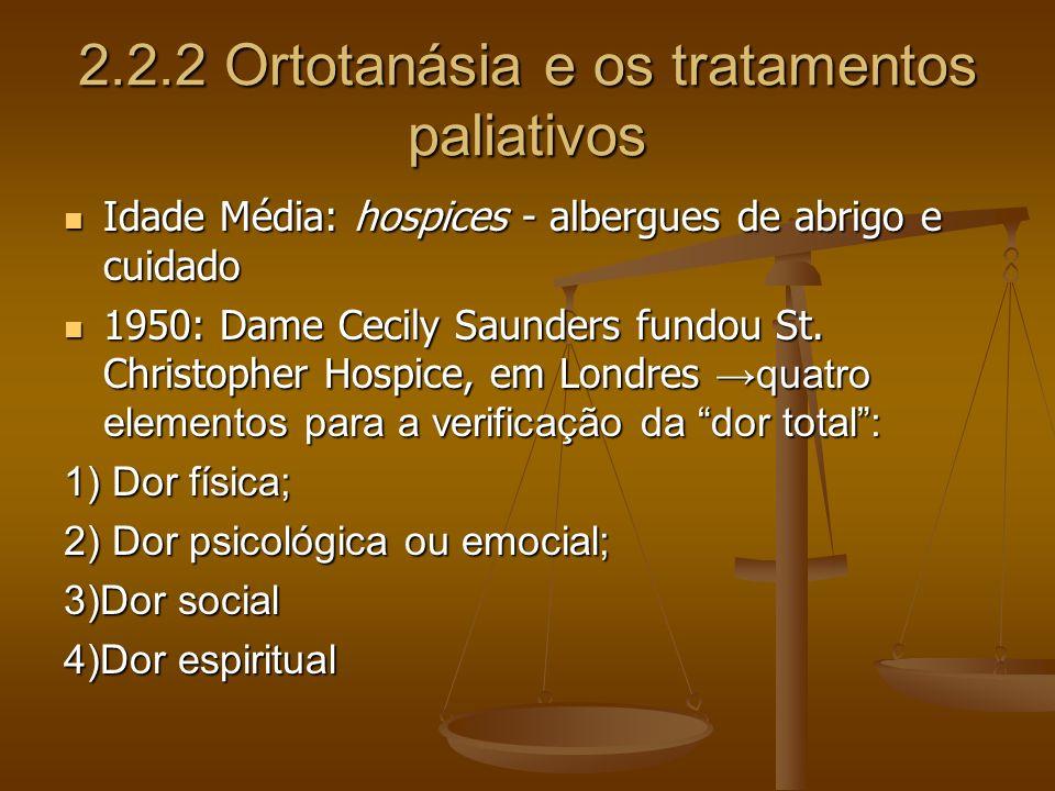 2.2.2 Ortotanásia e os tratamentos paliativos Idade Média: hospices - albergues de abrigo e cuidado Idade Média: hospices - albergues de abrigo e cuid