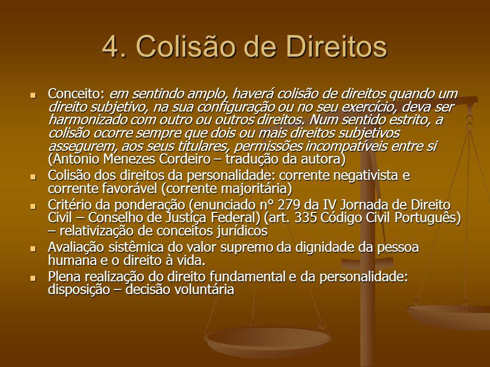 4. Colisão de Direitos Conceito: em sentindo amplo, haverá colisão de direitos quando um direito subjetivo, na sua configuração ou no seu exercício, d