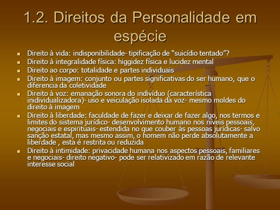 1.2. Direitos da Personalidade em espécie Direito à vida: indisponibilidade- tipificação de suicídio tentado? Direito à vida: indisponibilidade- tipif