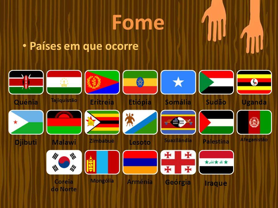 Fome Países em que ocorre Quénia Tajiquistão EritreiaEtiópiaSomáliaSudãoUganda DjibutiMalawi Zimbabué Lesoto Suazilândia Palestina Afeganistão Coreia