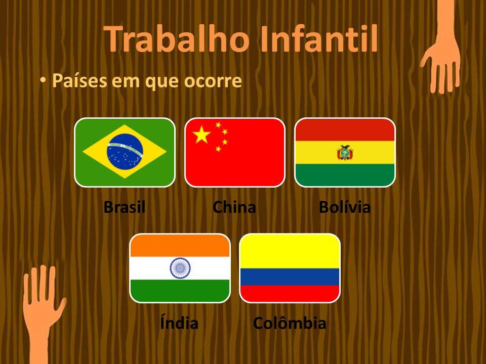 Trabalho Infantil Países em que ocorre BrasilChinaBolívia ÍndiaColômbia