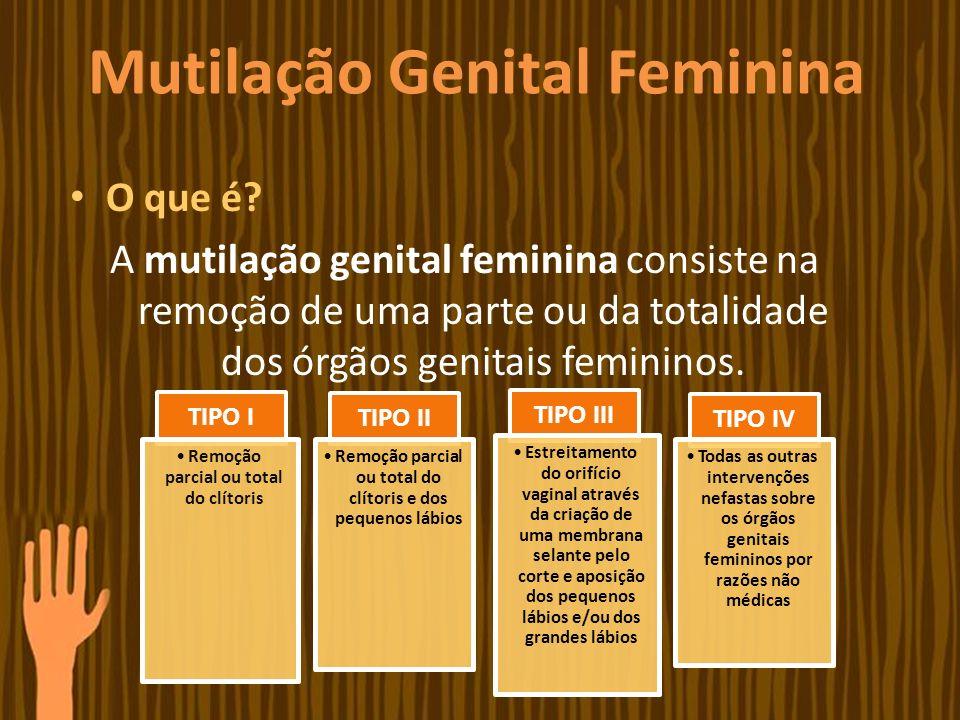 Mutilação Genital Feminina O que é? A mutilação genital feminina consiste na remoção de uma parte ou da totalidade dos órgãos genitais femininos. TIPO