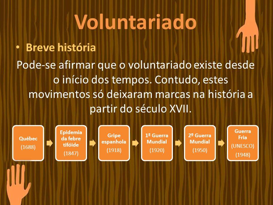 Voluntariado Breve história Pode-se afirmar que o voluntariado existe desde o início dos tempos. Contudo, estes movimentos só deixaram marcas na histó