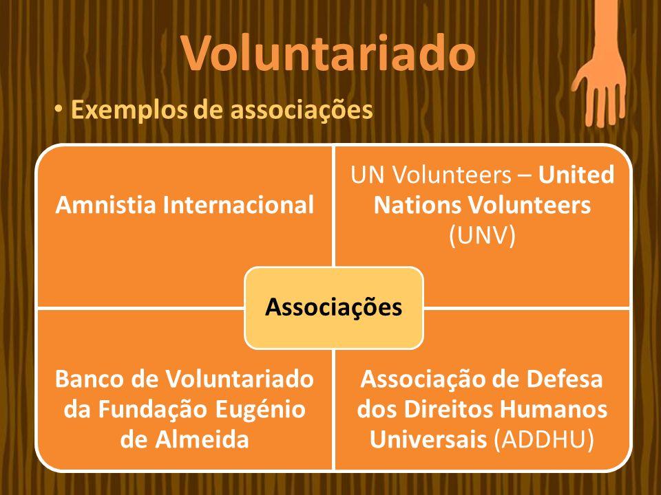 Amnistia Internacional UN Volunteers – United Nations Volunteers (UNV) Banco de Voluntariado da Fundação Eugénio de Almeida Associação de Defesa dos D