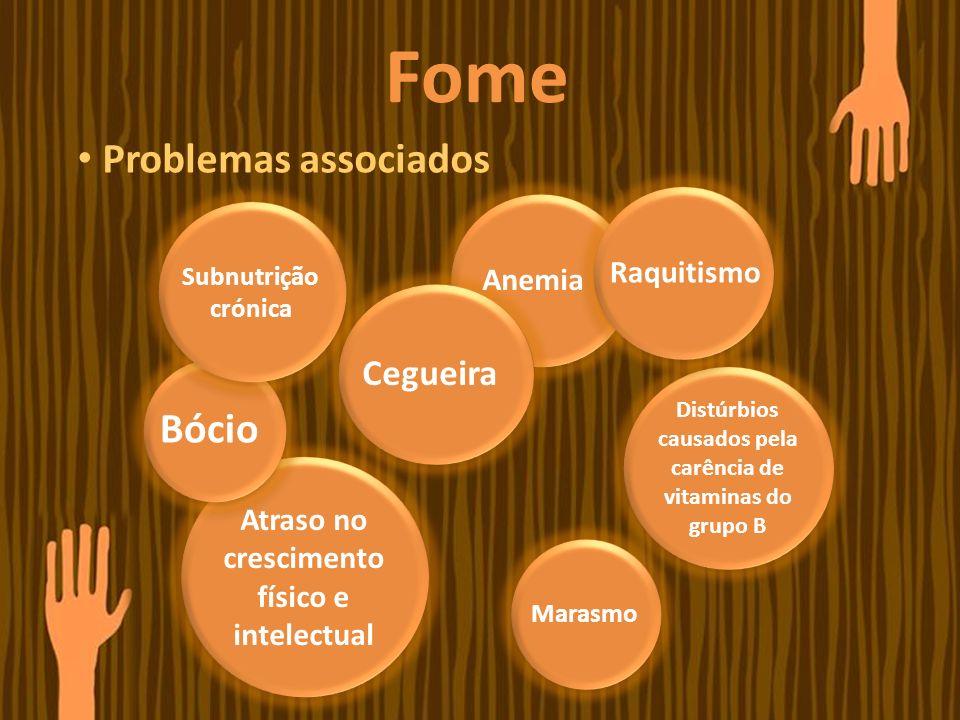 Fome Problemas associados Anemia Subnutrição crónica Cegueira Raquitismo Bócio Distúrbios causados pela carência de vitaminas do grupo B Marasmo Atras