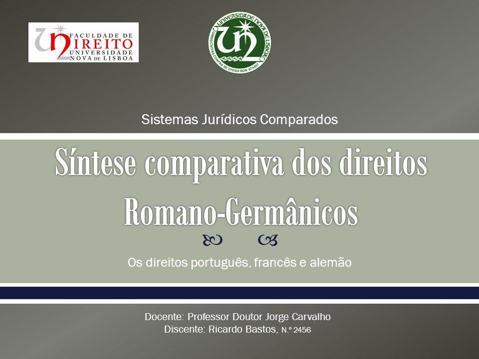 Os direitos português, francês e alemão Sistemas Jurídicos Comparados Docente: Professor Doutor Jorge Carvalho Discente: Ricardo Bastos, N.º 2456