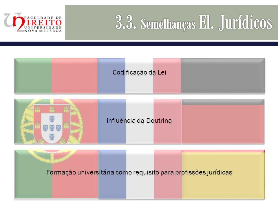 H Codificação da Lei Influência da Doutrina Formação universitária como requisito para profissões jurídicas
