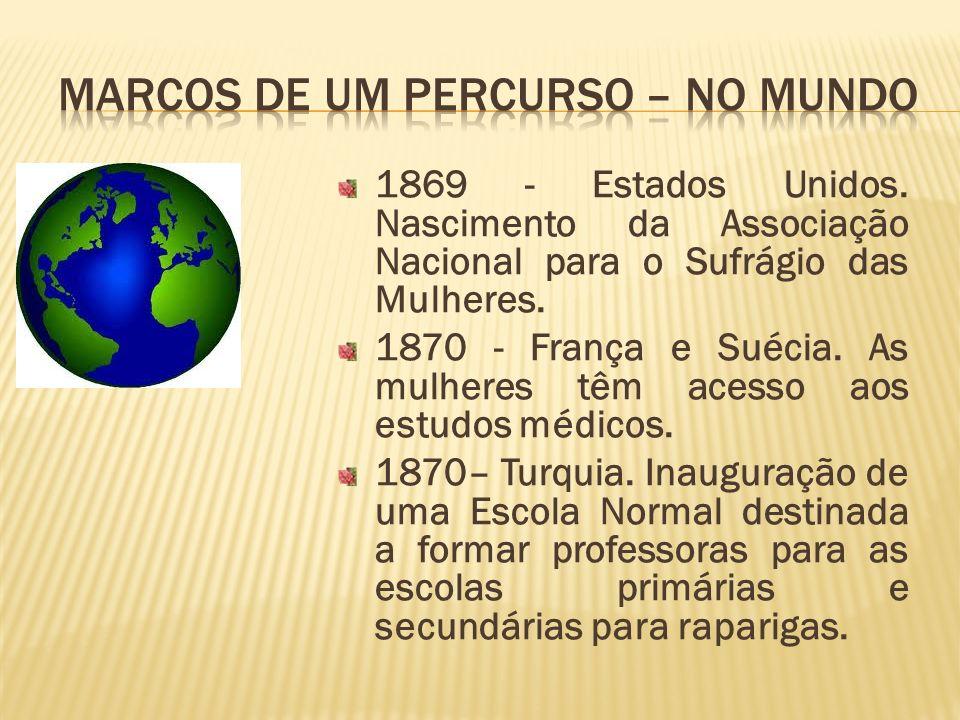 1869 - Estados Unidos. Nascimento da Associação Nacional para o Sufrágio das Mulheres. 1870 - França e Suécia. As mulheres têm acesso aos estudos médi