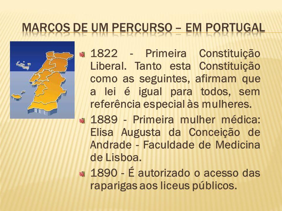 1822 - Primeira Constituição Liberal. Tanto esta Constituição como as seguintes, afirmam que a lei é igual para todos, sem referência especial às mulh