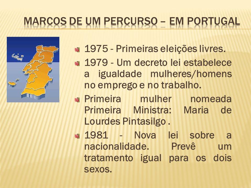 1975 - Primeiras eleições livres. 1979 - Um decreto lei estabelece a igualdade mulheres/homens no emprego e no trabalho. Primeira mulher nomeada Prime
