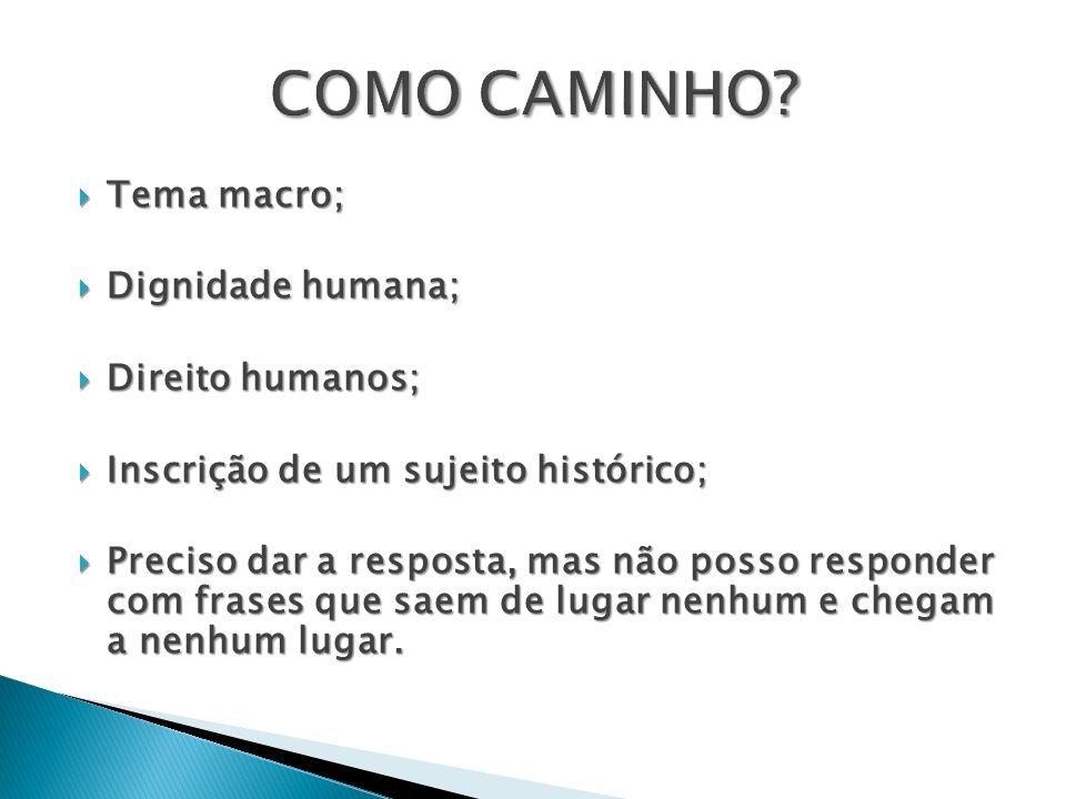 Tema macro; Tema macro; Dignidade humana; Dignidade humana; Direito humanos; Direito humanos; Inscrição de um sujeito histórico; Inscrição de um sujei