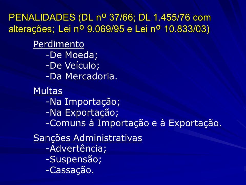PENALIDADES (DL n º 37/66; DL 1.455/76 com altera ç ões; Lei n º 9.069/95 e Lei n º 10.833/03) Perdimento -De Moeda; -De Veículo; -Da Mercadoria.