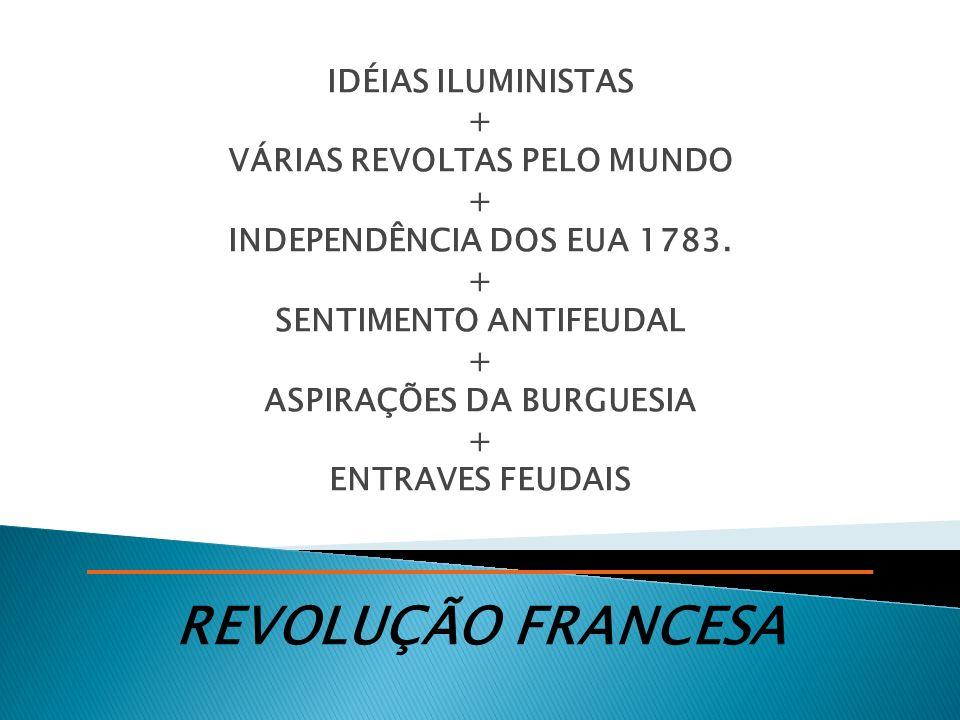 IDÉIAS ILUMINISTAS + VÁRIAS REVOLTAS PELO MUNDO + INDEPENDÊNCIA DOS EUA 1783.