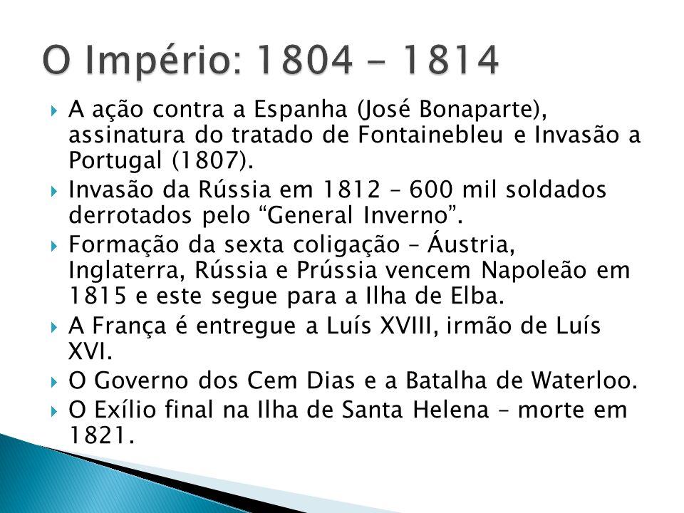 A ação contra a Espanha (José Bonaparte), assinatura do tratado de Fontainebleu e Invasão a Portugal (1807).