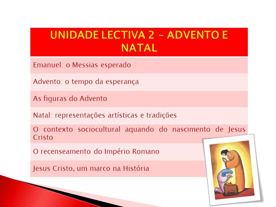 UNIDADE LECTIVA 2 – ADVENTO E NATAL Emanuel: o Messias esperado Advento: o tempo da esperança As figuras do Advento Natal: representações artísticas e