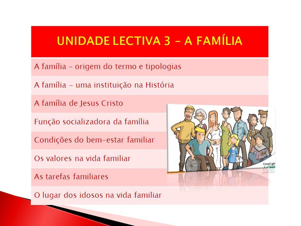 UNIDADE LECTIVA 3 – A FAMÍLIA A família – origem do termo e tipologias A família - uma instituição na História A família de Jesus Cristo Função social