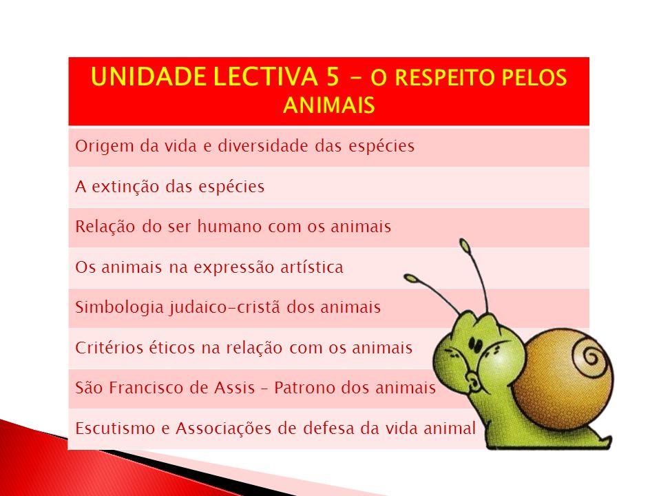 UNIDADE LECTIVA 5 – O RESPEITO PELOS ANIMAIS Origem da vida e diversidade das espécies A extinção das espécies Relação do ser humano com os animais Os