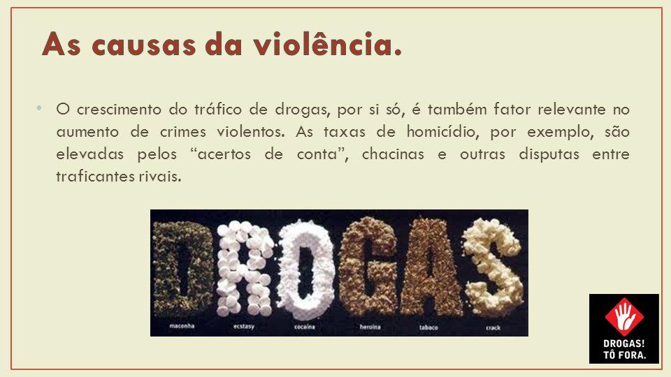 O crescimento do tráfico de drogas, por si só, é também fator relevante no aumento de crimes violentos.