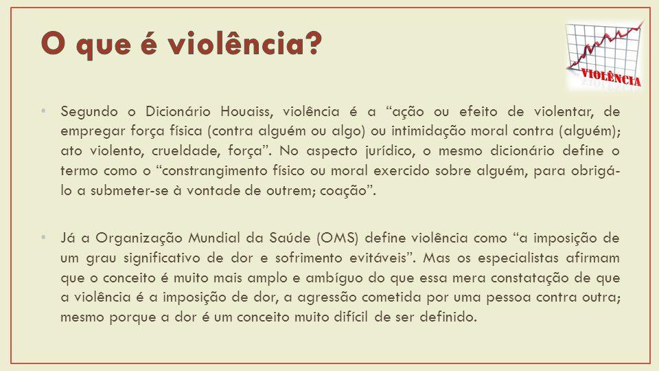 Segundo o Dicionário Houaiss, violência é a ação ou efeito de violentar, de empregar força física (contra alguém ou algo) ou intimidação moral contra (alguém); ato violento, crueldade, força.