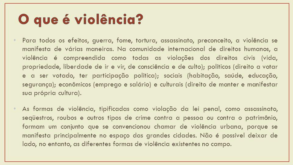 Para todos os efeitos, guerra, fome, tortura, assassinato, preconceito, a violência se manifesta de várias maneiras.